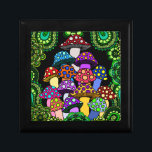 "Colorful Mushrooms Trinket Box<br><div class=""desc"">A trinket box with colorful psychedelic mushrooms surrounded by green paisley and green  mandalas.</div>"