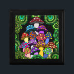 """Colorful Mushrooms Trinket Box<br><div class=""""desc"""">A trinket box with colorful psychedelic mushrooms surrounded by green paisley and green  mandalas.</div>"""