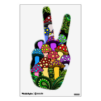 Colorful Mushrooms Wall Decal Peace Hand