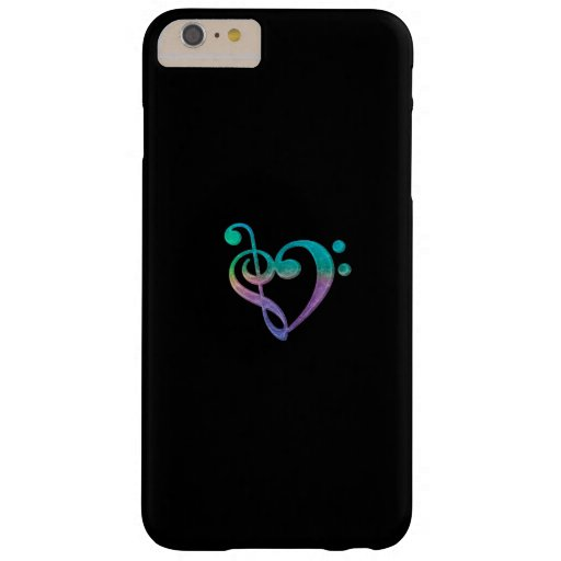 Colorful Music Clef Heart Black iPhone 6 Plus Case