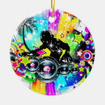 Colorful Music DJ Double-Sided Ceramic Round Christmas Ornament