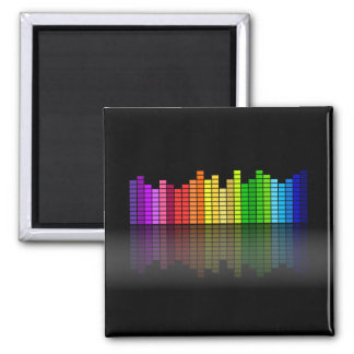 Colorful Music Equalizer w/Reflection, Cool Techno 2 Inch Square Magnet
