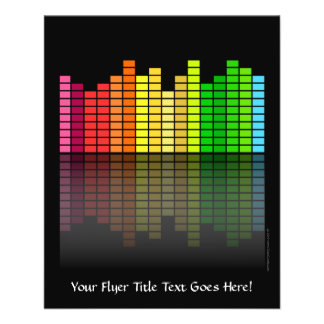 """Colorful Music Equalizer w/Reflection, Cool Techno 4.5"""" X 5.6"""" Flyer"""