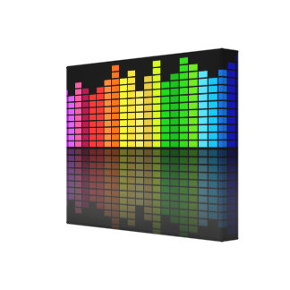 Colorful Music Equalizer w/Reflection, Cool Techno Canvas Prints
