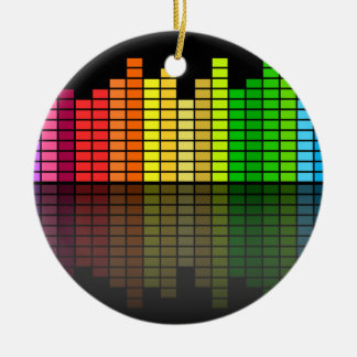 Colorful Music Equalizer w/Reflection, Cool Techno Ceramic Ornament