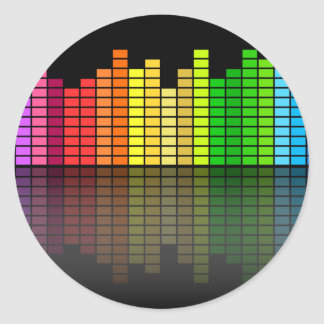 Colorful Music Equalizer w/Reflection, Cool Techno Classic Round Sticker