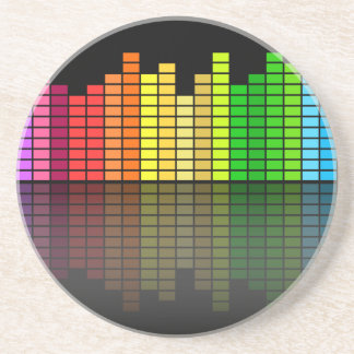 Colorful Music Equalizer w Reflection Cool Techno Beverage Coasters