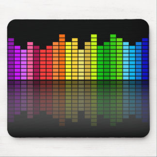 Colorful Music Equalizer w/Reflection, Cool Techno Mouse Pad