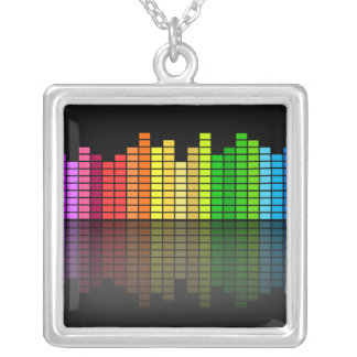 Colorful Music Equalizer w/Reflection, Cool Techno Square Pendant Necklace