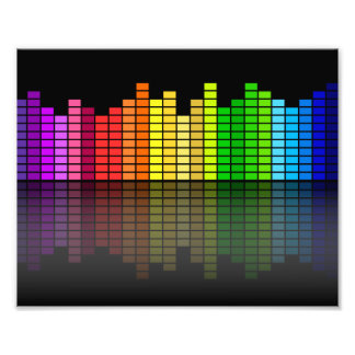 Colorful Music Equalizer w/Reflection, Cool Techno Photo Print