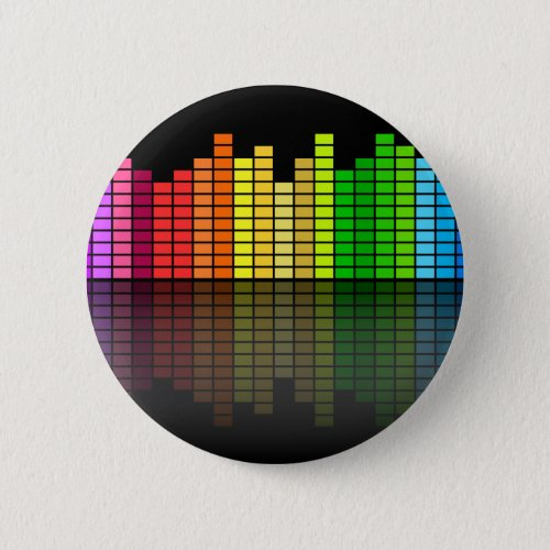 Colorful Music Equalizer w/Reflection, Cool Techno Pinback Button