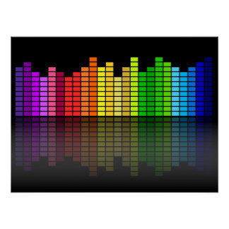 Colorful Music Equalizer w/Reflection, Cool Techno Poster