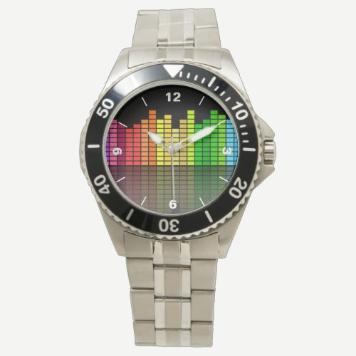 Colorful Music Equalizer w/Reflection, Cool Techno Wristwatch