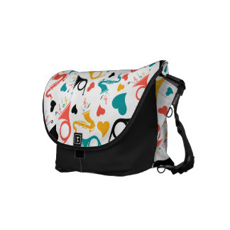Colorful Music Instruments Pattern Messenger Bag