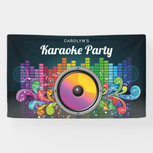 Colorful Music Karaoke Birthday Party Banner