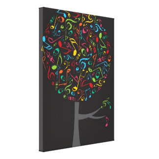 Colorful Music Musical Notes Song Singing Pop Tree Canvas Print