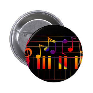 Colorful Music Notes and Keys Button