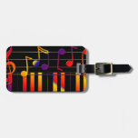Colorful Music Notes and Keys Luggage Tag