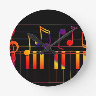 Colorful Music Notes and Keys Round Clock