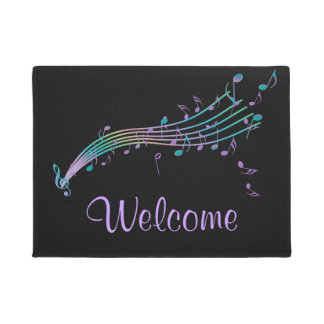 Colorful Music Notes Black Welcome Mat