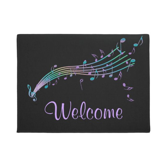 Colorful Music Notes Black Welcome Mat Zazzle Com