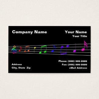 Colorful Music Notes Business Card