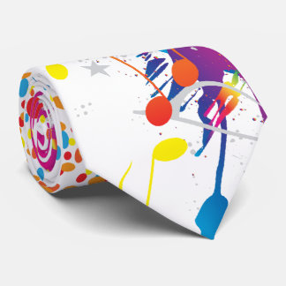 Colorful Music notes & Dots Tie