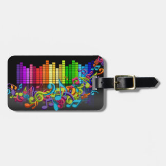 colorful music notes equalizer travel bag tags