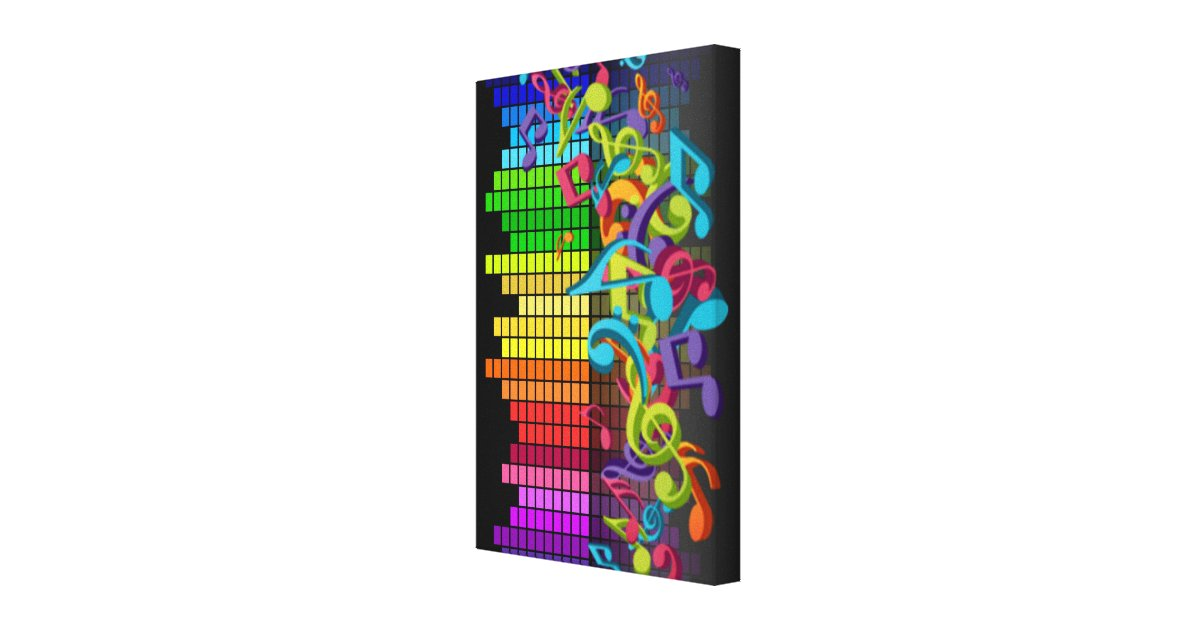colorful music notes equalizer sounds cool bright canvas ...