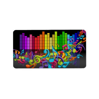 colorful music notes equalizer sounds cool bright label