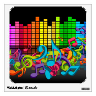 colorful music notes equalizer sounds cool bright wall stickers