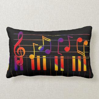 Colorful music notes illustration lumbar pillow