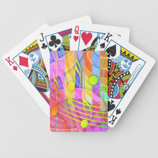 Colorful music notes illustration bicycle playing cards