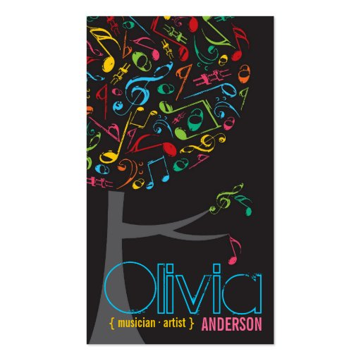 Colorful Music Notes Pop Tree Profile Card Double-Sided Standard Business Cards (Pack Of 100)