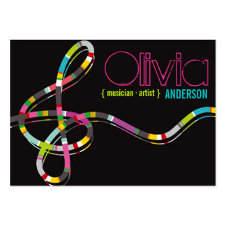 Colorful Music Notes Treble String Artist Art Song Large Business Card