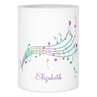 Colorful Music Notes Waving Staff Flameless Candle