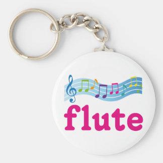 Colorful Music Staff Flute Design Gift Basic Round Button Keychain