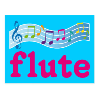 Colorful Music Staff Flute Design Gift Postcard