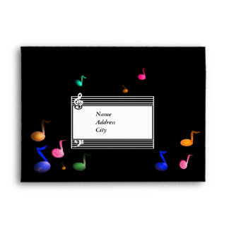 Colorful Musical A7 Envelope Card and invitation