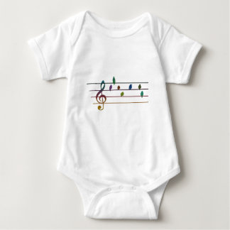Colorful musical birds on power line baby bodysuit