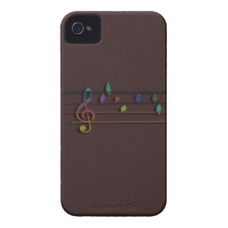 Colorful musical birds on power line iPhone 4 cases