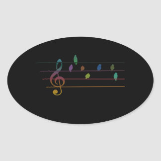 Colorful musical birds on power line oval stickers