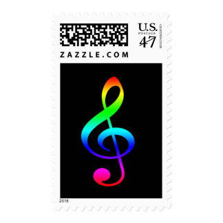 Colorful Musical Clef Symbol Postage Stamp