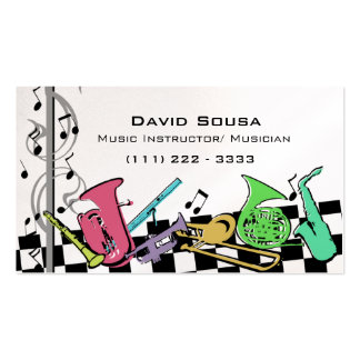 Colorful Musical Instruments Double-Sided Standard Business Cards (Pack Of 100)