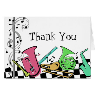 Colorful Musical Instruments Stationery Note Card