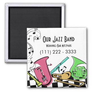 Colorful Musical Instruments 2 Inch Square Magnet