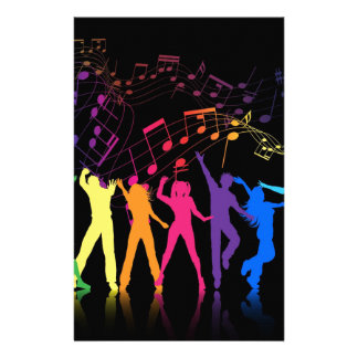 Colorful Musical Notes and Dancers Stationery