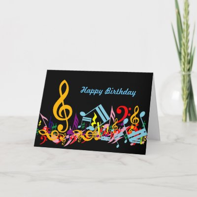 Colorful Musical Notes Birthday Card from Zazzle.com