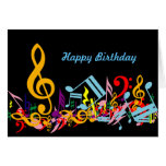 Colorful Musical Notes Birthday Card