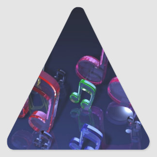 Colorful Musical Notes Design Triangle Sticker